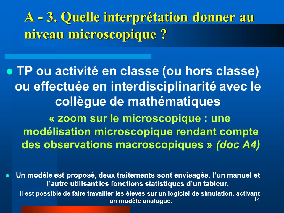 14 A - 3. Quelle interprétation donner au niveau microscopique ? TP ou activité en classe (ou hors classe) ou effectuée en interdisciplinarité avec le