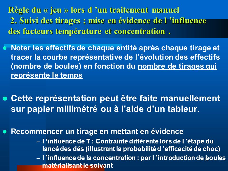 19 Règle du « jeu » lors d un traitement manuel 2. Suivi des tirages ; mise en évidence de l influence des facteurs température et concentration. Note