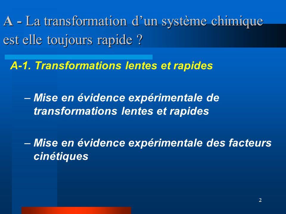 2 A - La transformation dun système chimique est elle toujours rapide ? A-1. Transformations lentes et rapides –Mise en évidence expérimentale de tran
