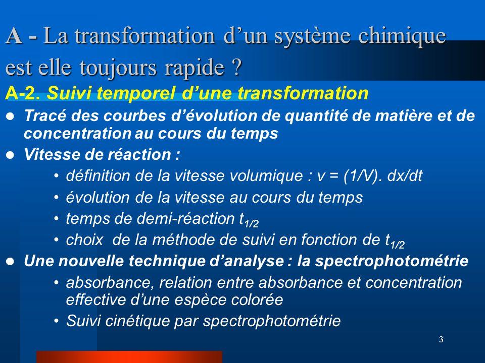 3 A - La transformation dun système chimique est elle toujours rapide ? A-2. Suivi temporel dune transformation Tracé des courbes dévolution de quanti