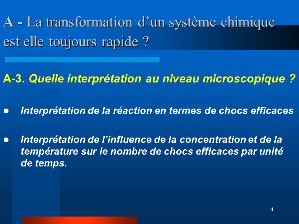 4 A - La transformation dun système chimique est elle toujours rapide ? A-3. Quelle interprétation au niveau microscopique ? Interprétation de la réac