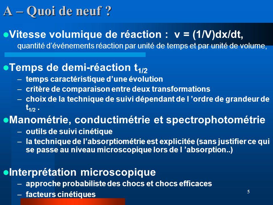 5 A – Quoi de neuf ? Vitesse volumique de réaction : v = (1/V)dx/dt, quantité dévénements réaction par unité de temps et par unité de volume, Temps de
