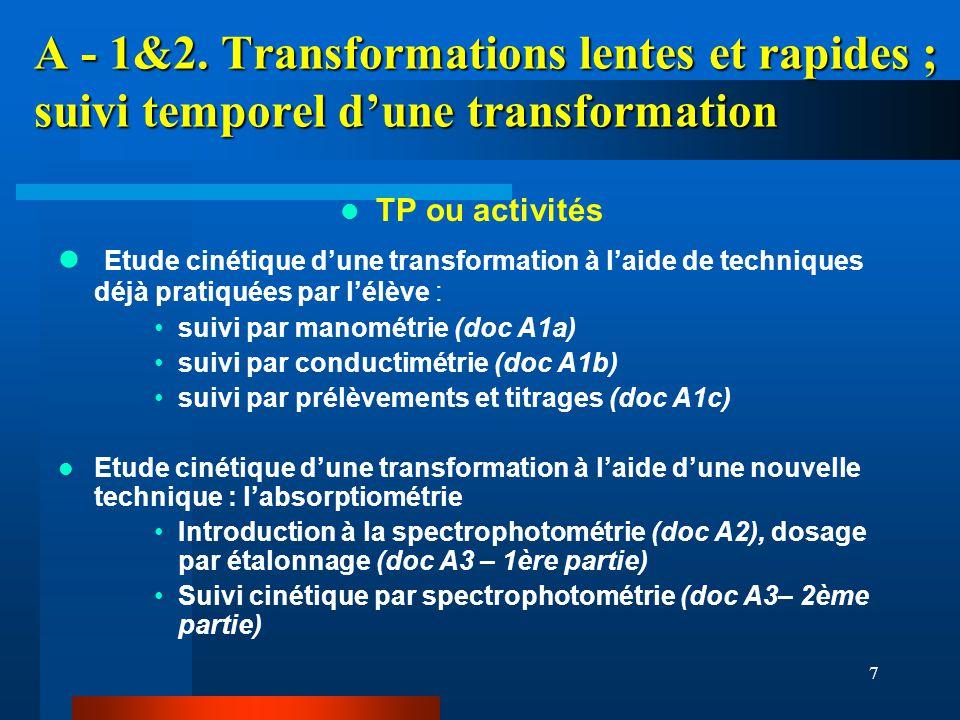 7 A - 1&2. Transformations lentes et rapides ; suivi temporel dune transformation TP ou activités Etude cinétique dune transformation à laide de techn
