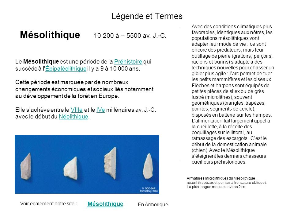 Légende et Termes Mésolithique L'Âge du Bronze est une période de la Protohistoire européenne caractérisée par l'usage de la métallurgie du bronze, no