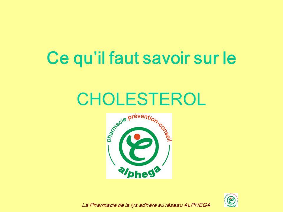 La Pharmacie de la lys adhère au réseau ALPHEGA Quest ce que le cholestérol .