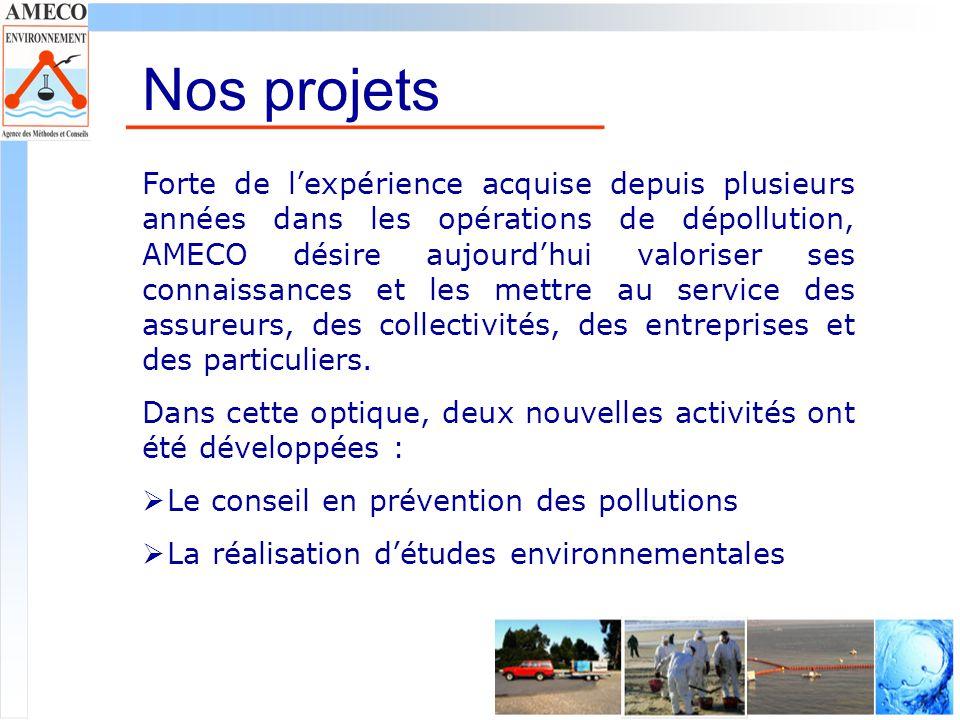 Nos activités Le conseil : Basés sur les situations rencontrées lors dopérations dintervention, AMECO propose ses conseils en prévention des risques de pollutions accidentelles.