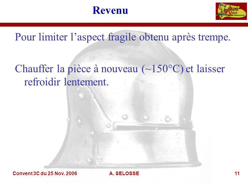 Convent 3C du 25 Nov. 2006A. SELOSSE11 Revenu Pour limiter laspect fragile obtenu après trempe.