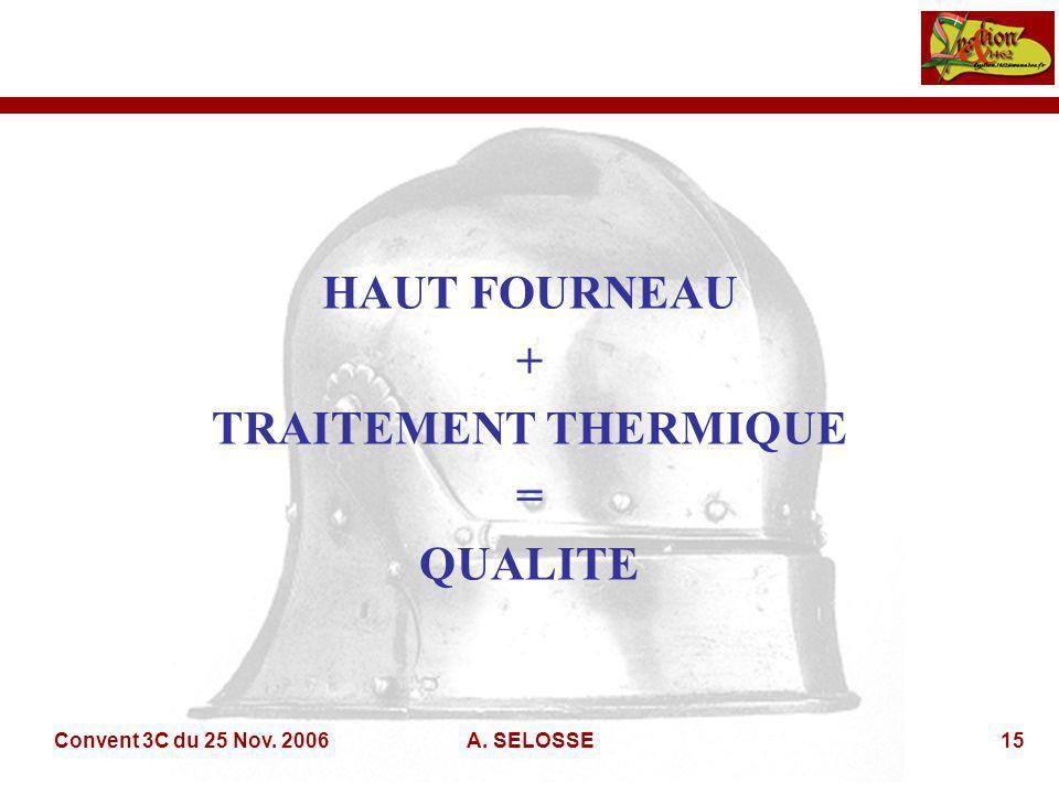 Convent 3C du 25 Nov. 2006A. SELOSSE15 HAUT FOURNEAU + TRAITEMENT THERMIQUE = QUALITE