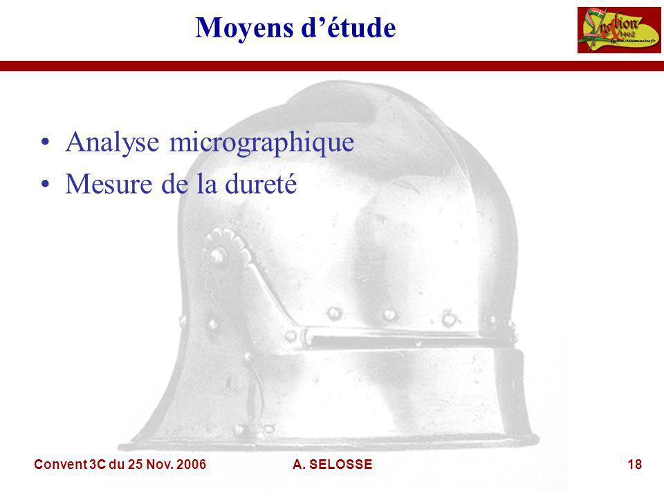 Convent 3C du 25 Nov. 2006A. SELOSSE18 Moyens détude Analyse micrographique Mesure de la dureté