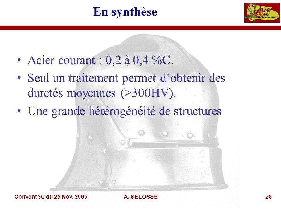Convent 3C du 25 Nov. 2006A. SELOSSE28 En synthèse Acier courant : 0,2 à 0,4 %C.