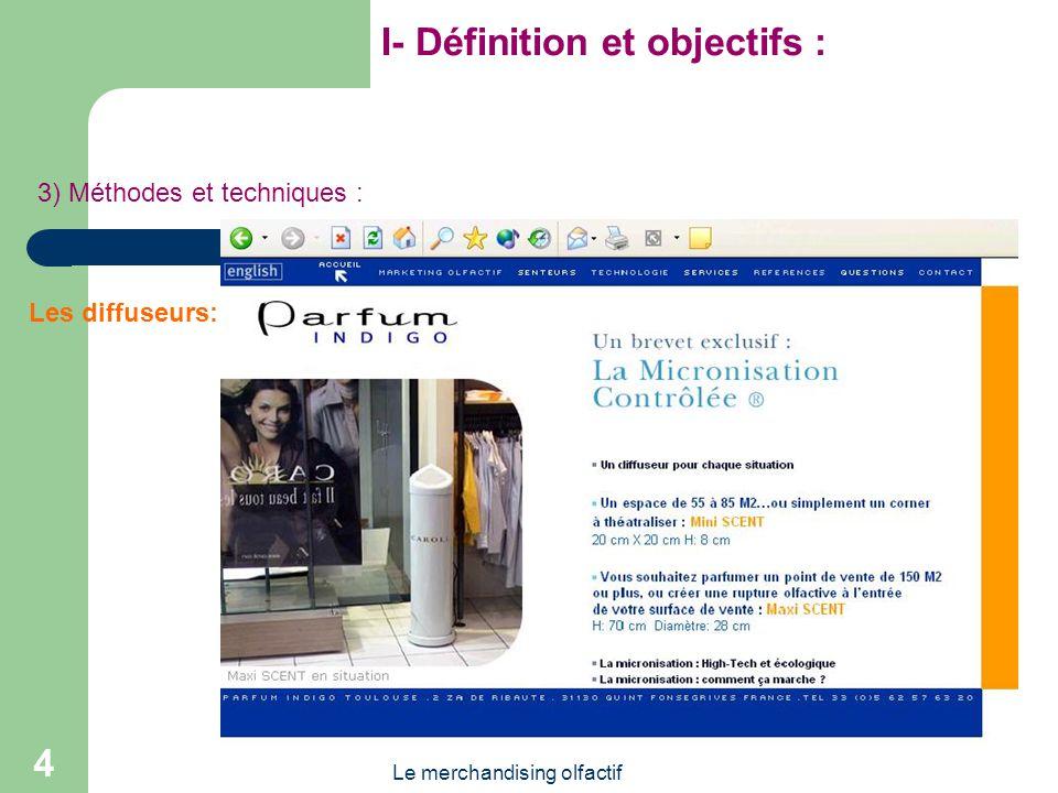 Le merchandising olfactif 4 I- Définition et objectifs : 3) Méthodes et techniques : Les diffuseurs: