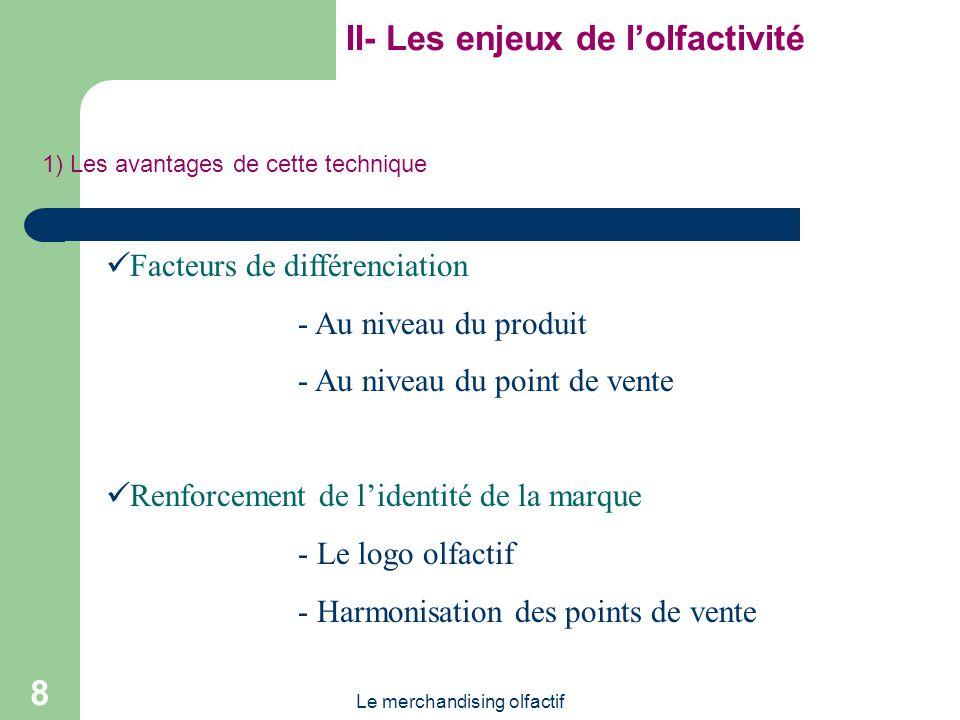 Le merchandising olfactif 8 II- Les enjeux de lolfactivité Facteurs de différenciation - Au niveau du produit - Au niveau du point de vente Renforceme