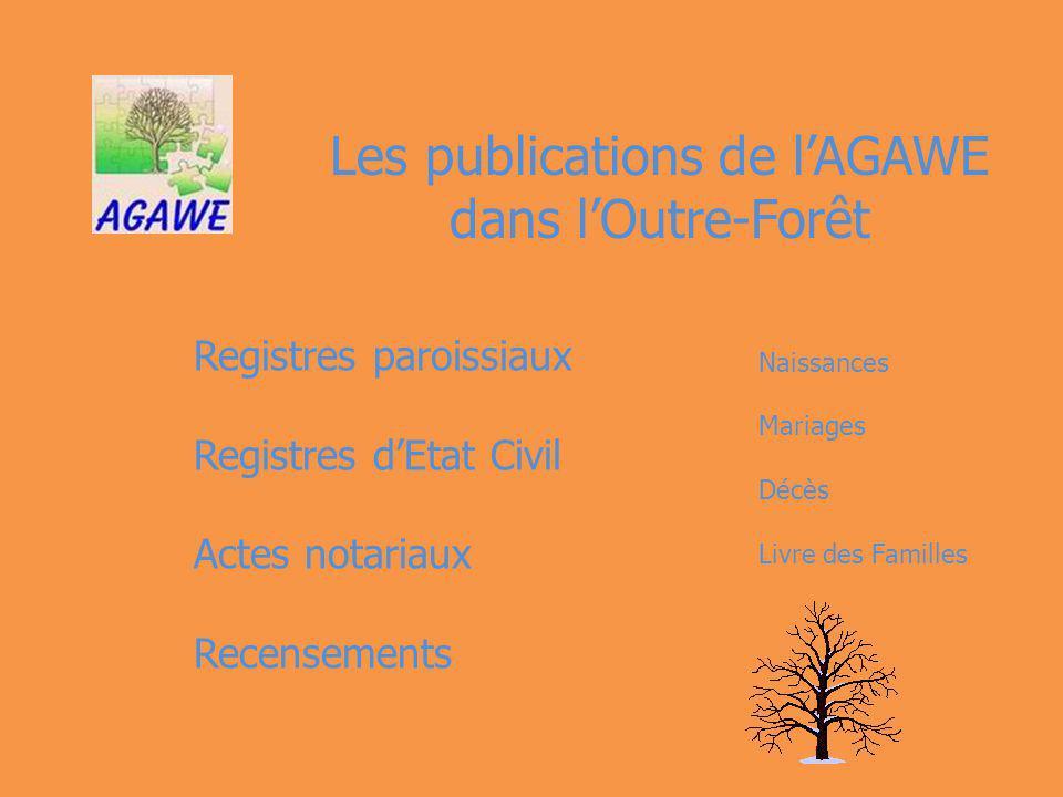 Les publications de lAGAWE dans lOutre-Forêt Registres paroissiaux Registres dEtat Civil Actes notariaux Recensements Naissances Mariages Décès Livre