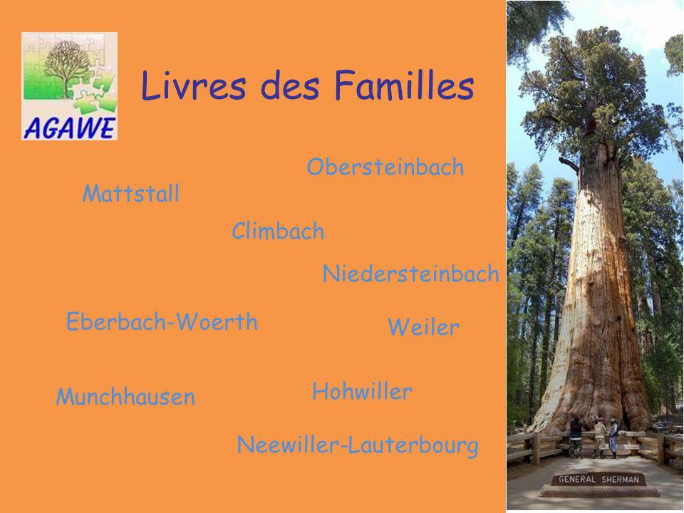 Livres des Familles Neewiller-Lauterbourg Weiler Munchhausen Mattstall Hohwiller Eberbach-Woerth Obersteinbach Climbach Niedersteinbach