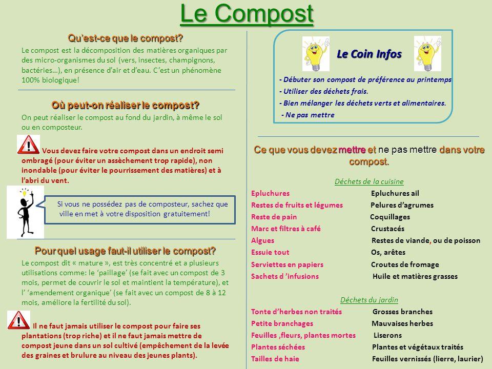 Le Compost Quest-ce que le compost? Le compost est la décomposition des matières organiques par des micro-organismes du sol (vers, insectes, champigno