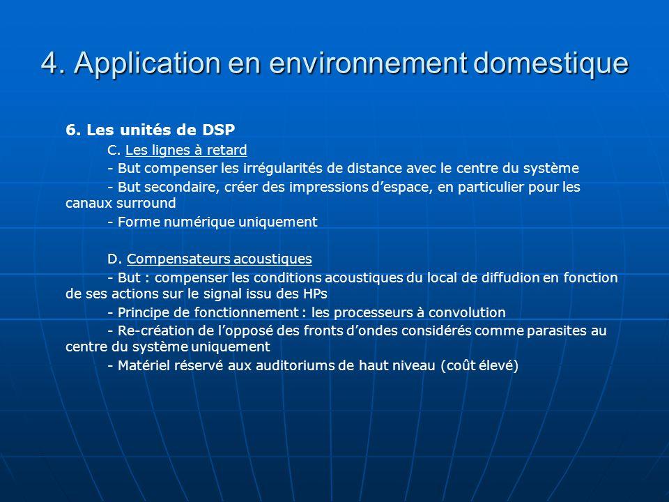 4. Application en environnement domestique 6. Les unités de DSP C.