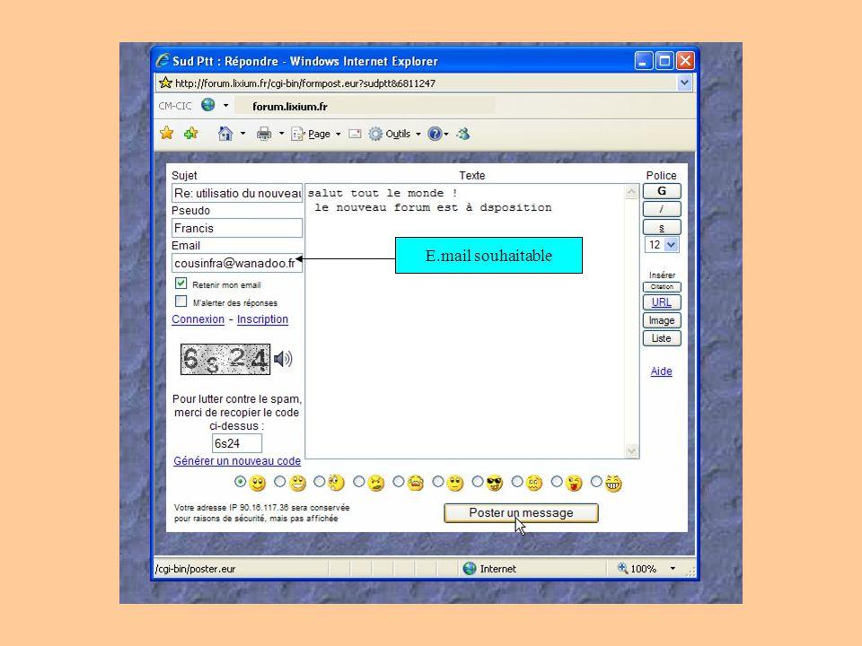 E.mail souhaitable