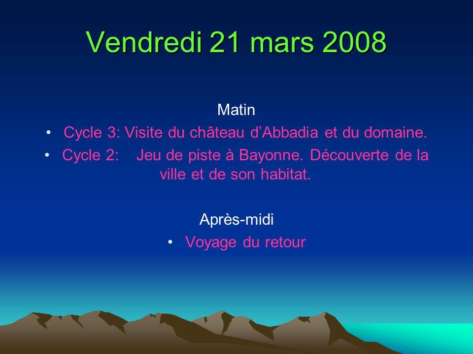 Vendredi 21 mars 2008 Matin Cycle 3: Visite du château dAbbadia et du domaine. Cycle 2: Jeu de piste à Bayonne. Découverte de la ville et de son habit