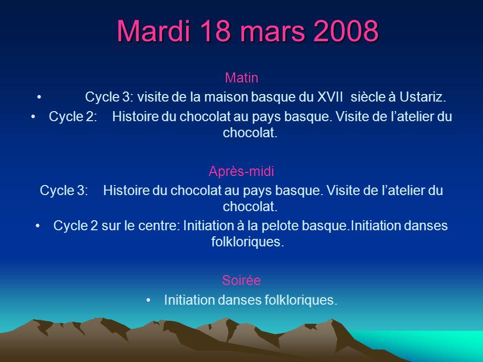 Mardi 18 mars 2008 Matin Cycle 3: visite de la maison basque du XVII siècle à Ustariz. Cycle 2: Histoire du chocolat au pays basque. Visite de latelie