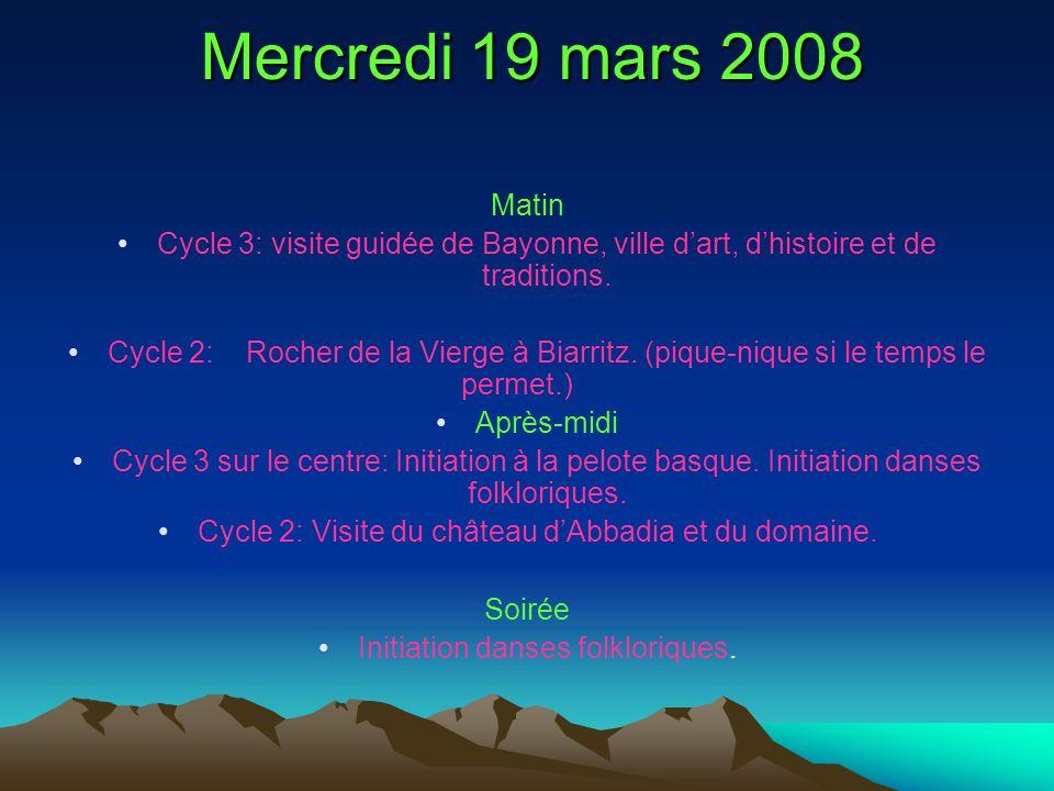 Mercredi 19 mars 2008 Matin Cycle 3: visite guidée de Bayonne, ville dart, dhistoire et de traditions. Cycle 2: Rocher de la Vierge à Biarritz. (pique