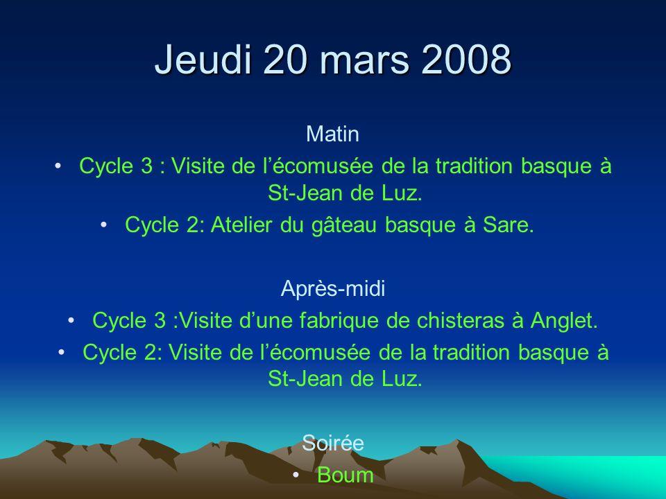 Jeudi 20 mars 2008 Matin Cycle 3 : Visite de lécomusée de la tradition basque à St-Jean de Luz. Cycle 2: Atelier du gâteau basque à Sare. Après-midi C