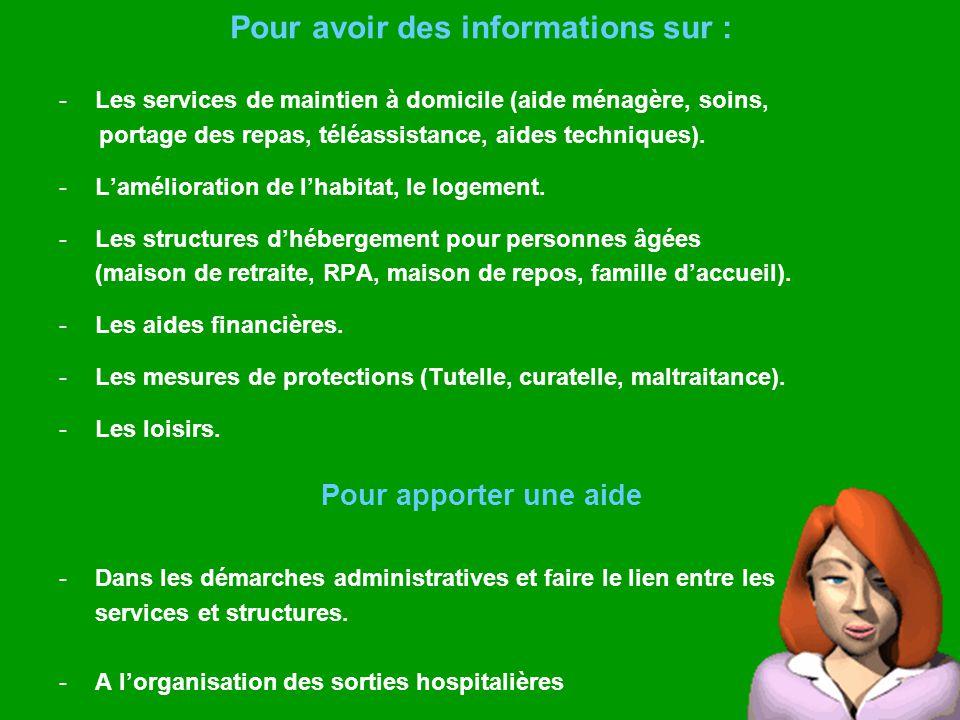 Pour avoir des informations sur : -Les services de maintien à domicile (aide ménagère, soins, portage des repas, téléassistance, aides techniques). -L