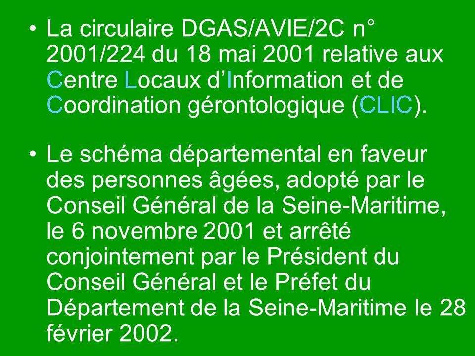 La circulaire DGAS/AVIE/2C n° 2001/224 du 18 mai 2001 relative aux Centre Locaux dInformation et de Coordination gérontologique (CLIC). Le schéma dépa