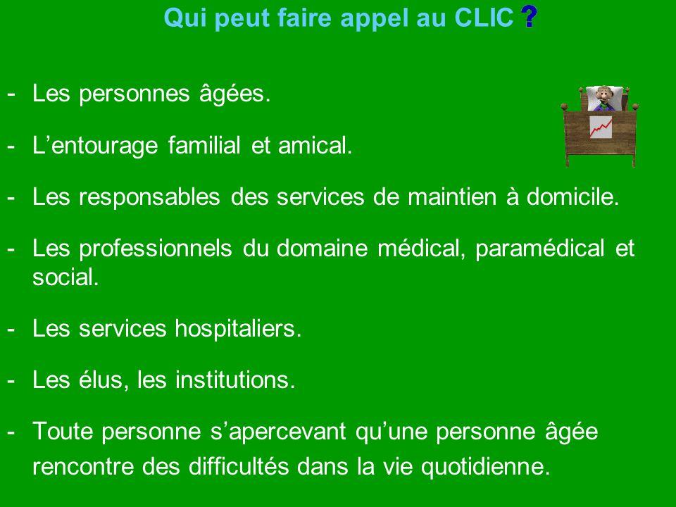 Qui peut faire appel au CLIC - Les personnes âgées. - Lentourage familial et amical. - Les responsables des services de maintien à domicile. - Les pro