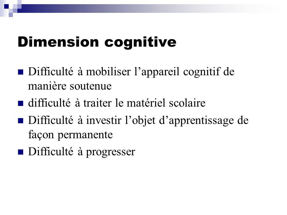 Dimension cognitive Difficulté à mobiliser lappareil cognitif de manière soutenue difficulté à traiter le matériel scolaire Difficulté à investir lobjet dapprentissage de façon permanente Difficulté à progresser
