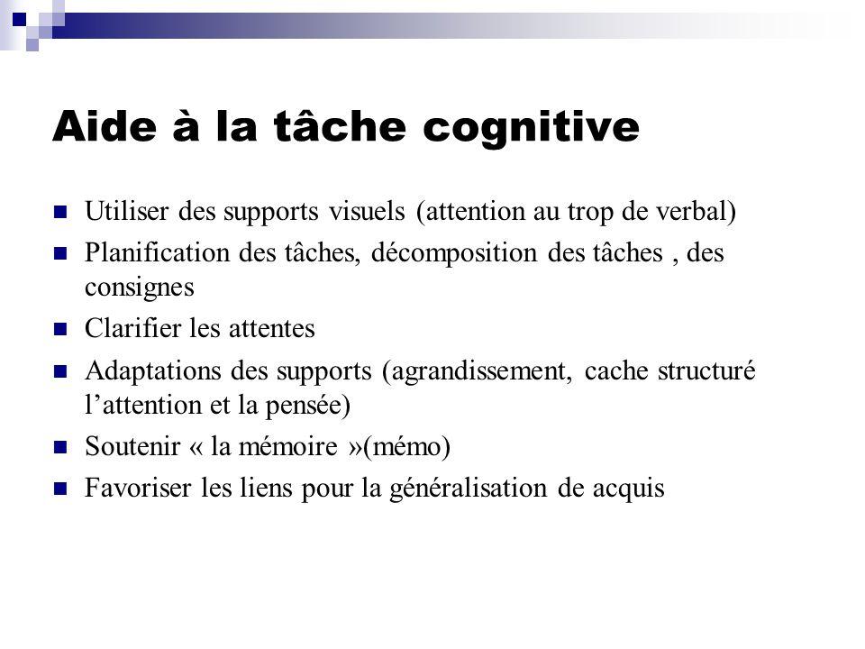 Aide à la tâche cognitive Utiliser des supports visuels (attention au trop de verbal) Planification des tâches, décomposition des tâches, des consignes Clarifier les attentes Adaptations des supports (agrandissement, cache structuré lattention et la pensée) Soutenir « la mémoire »(mémo) Favoriser les liens pour la généralisation de acquis