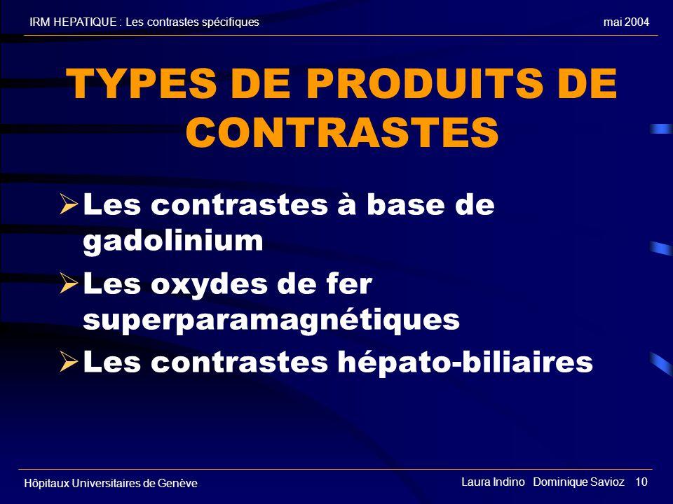mai 2004IRM HEPATIQUE : Les contrastes spécifiques Hôpitaux Universitaires de Genève Laura Indino Dominique Savioz 10 TYPES DE PRODUITS DE CONTRASTES