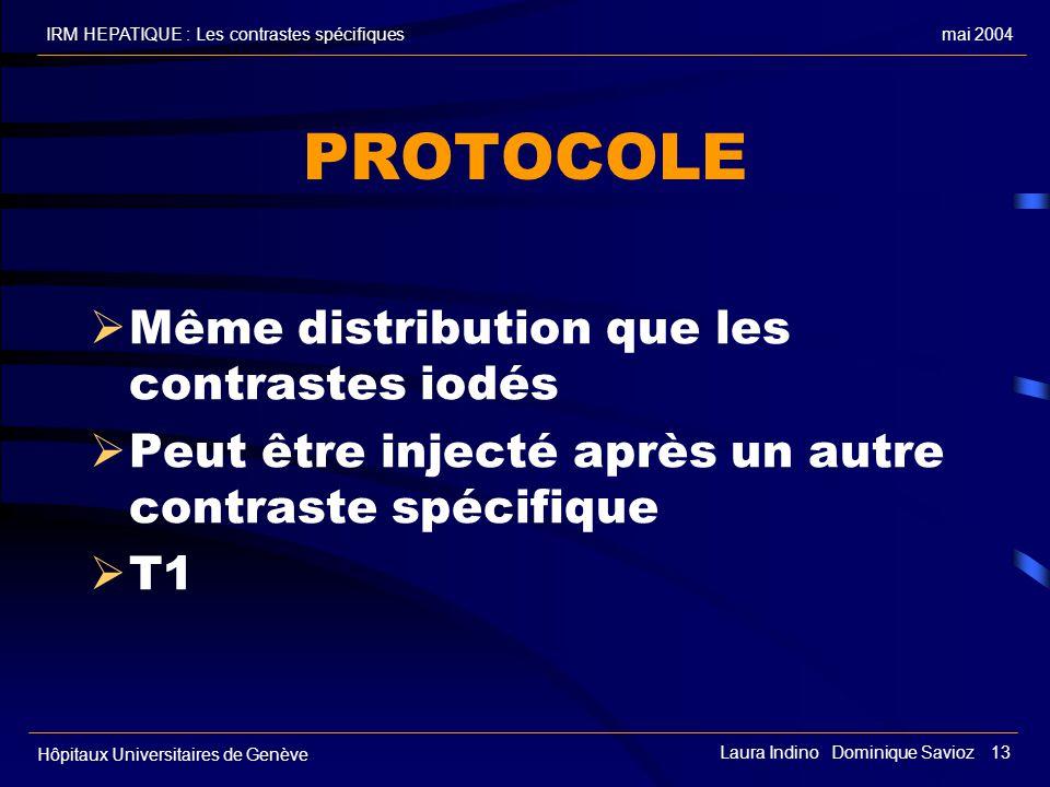mai 2004IRM HEPATIQUE : Les contrastes spécifiques Hôpitaux Universitaires de Genève Laura Indino Dominique Savioz 13 PROTOCOLE Même distribution que