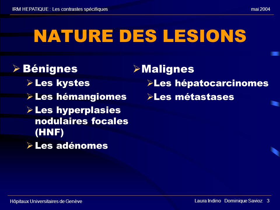 mai 2004IRM HEPATIQUE : Les contrastes spécifiques Hôpitaux Universitaires de Genève Laura Indino Dominique Savioz 3 NATURE DES LESIONS Bénignes Les k