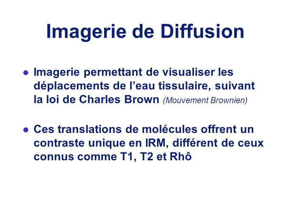 Imagerie de Diffusion l Imagerie permettant de visualiser les déplacements de leau tissulaire, suivant la loi de Charles Brown (Mouvement Brownien) l Ces translations de molécules offrent un contraste unique en IRM, différent de ceux connus comme T1, T2 et Rhô