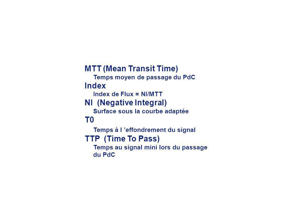 MTT (Mean Transit Time) Temps moyen de passage du PdC Index Index de Flux = NI/MTT NI (Negative Integral) Surface sous la courbe adaptée T0 Temps à l effondrement du signal TTP (Time To Pass) Temps au signal mini lors du passage du PdC