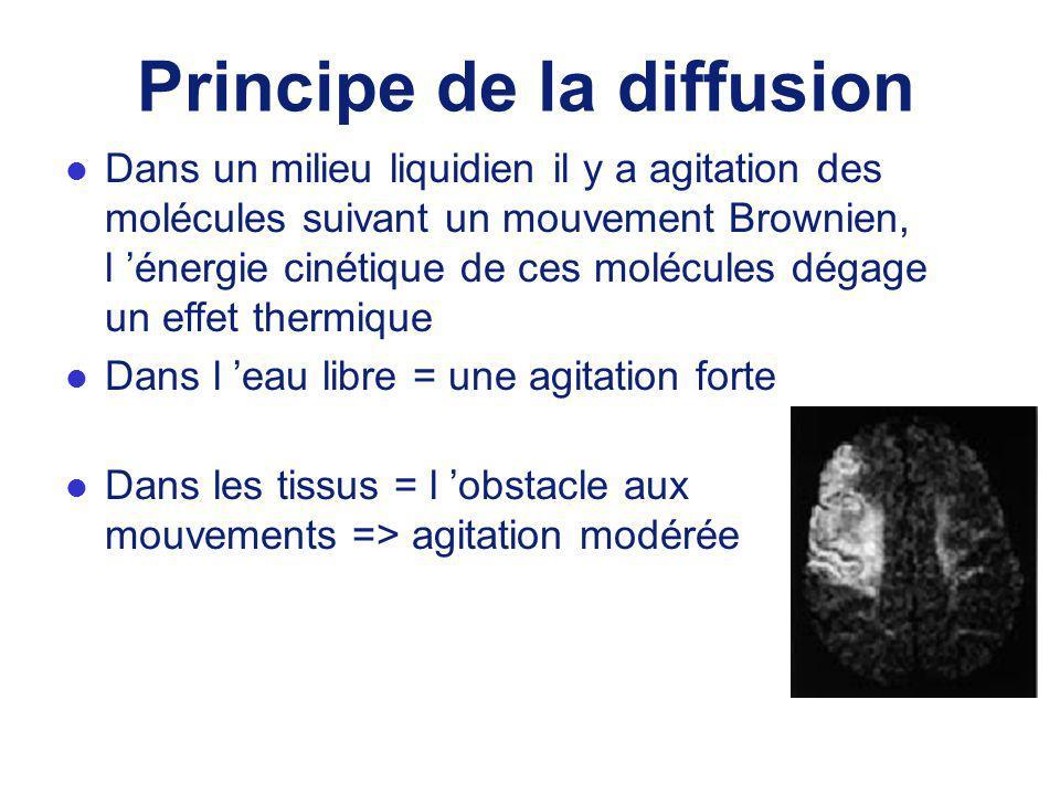 Principe de la diffusion l Dans un milieu liquidien il y a agitation des molécules suivant un mouvement Brownien, l énergie cinétique de ces molécules dégage un effet thermique l Dans l eau libre = une agitation forte l Dans les tissus = l obstacle aux mouvements => agitation modérée