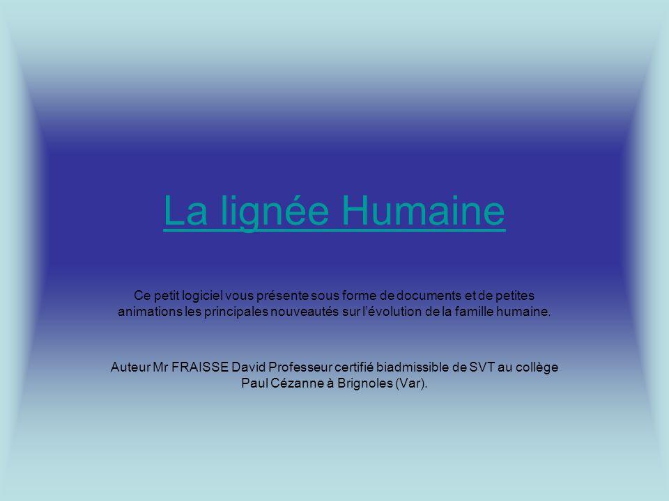 La lignée Humaine Ce petit logiciel vous présente sous forme de documents et de petites animations les principales nouveautés sur lévolution de la famille humaine.