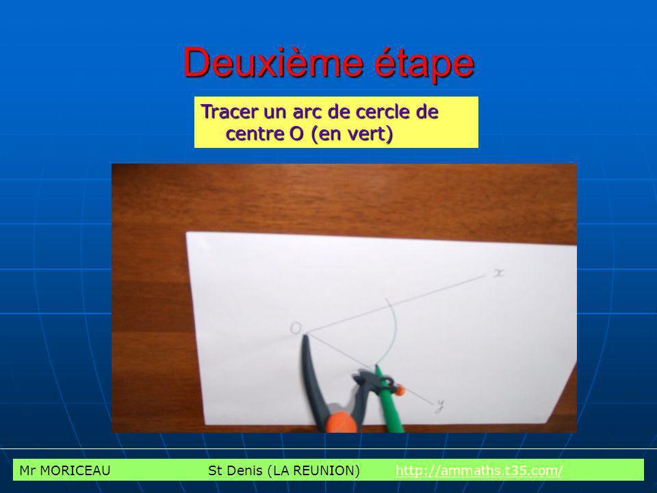 Mr MORICEAU St Denis (LA REUNION) http://ammaths.t35.com/http://ammaths.t35.com/ Troisième étape Larc de cercle précédent coupe la demi-droite [Ox) en un point A et la demi-droite [Oy) en un point B.