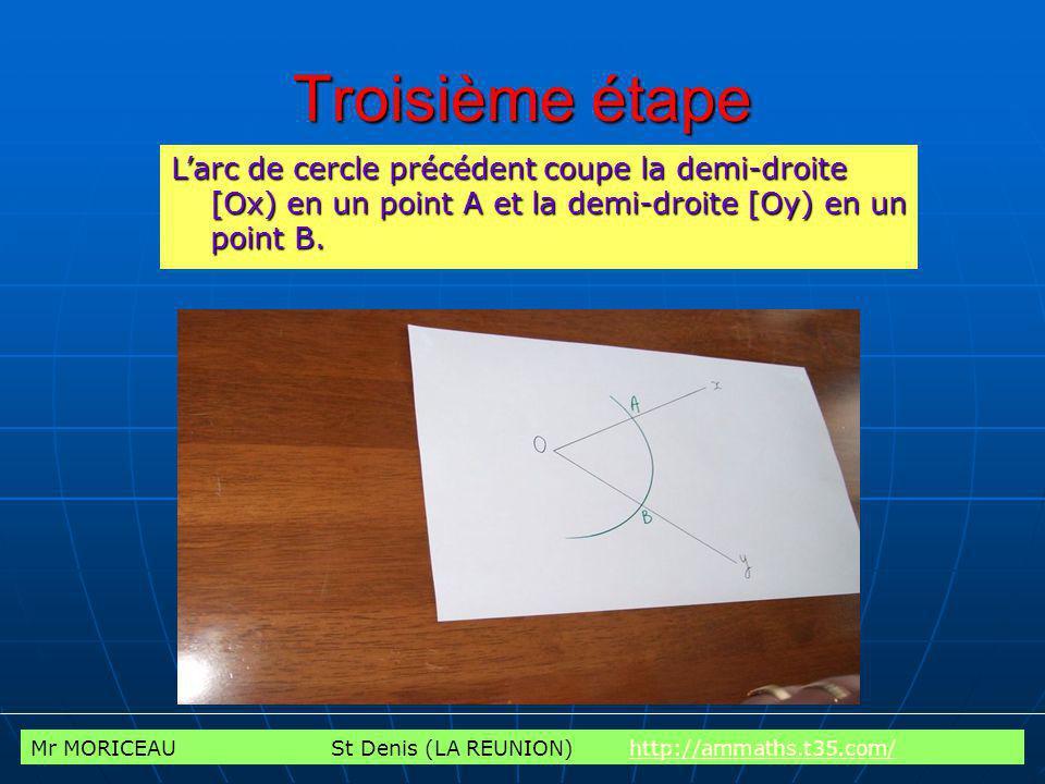 Mr MORICEAU St Denis (LA REUNION) http://ammaths.t35.com/http://ammaths.t35.com/ Quatrième étape Avec le compas pointé en A, tracer un arc de cercle dans lintérieur de langle Faire la même chose avec le compas pointé en B.