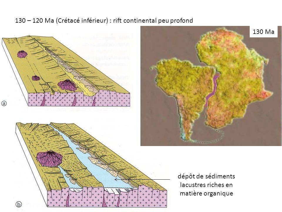 dépôt de sédiments lacustres riches en matière organique 130 – 120 Ma (Crétacé inférieur) : rift continental peu profond 130 Ma