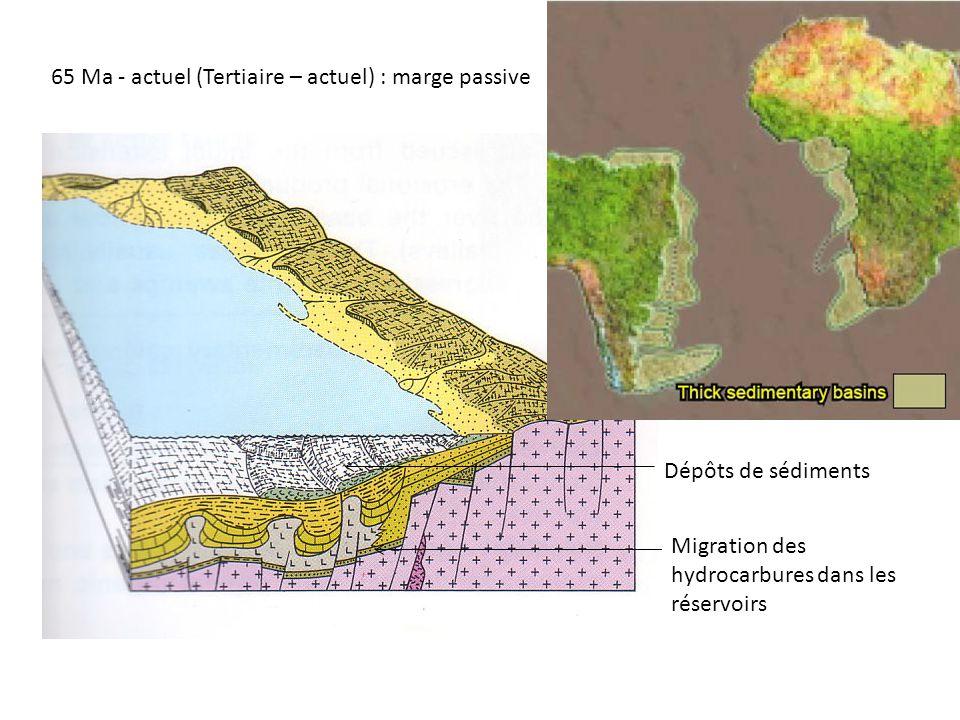 65 Ma - actuel (Tertiaire – actuel) : marge passive Dépôts de sédiments Migration des hydrocarbures dans les réservoirs