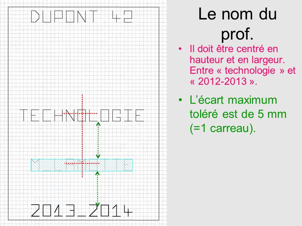 Le nom du prof. Il doit être centré en hauteur et en largeur. Entre « technologie » et « 2012-2013 ». Lécart maximum toléré est de 5 mm (=1 carreau).