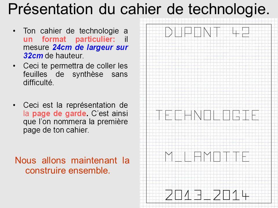 Présentation du cahier de technologie. Nous allons maintenant la construire ensemble. Ceci est la représentation de la page de garde. Cest ainsi que l