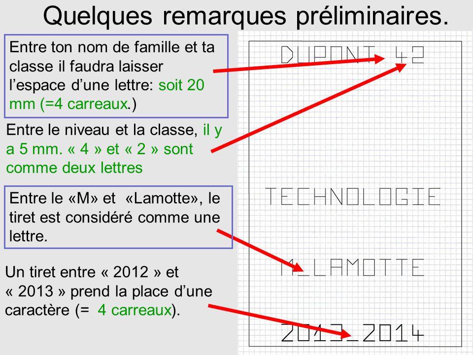 Dans cet ordre 1°) Le cadre 2°) lannée scolaire 3°) Ton nom de famille et ta classe 4°) Technologie 5°) « M.