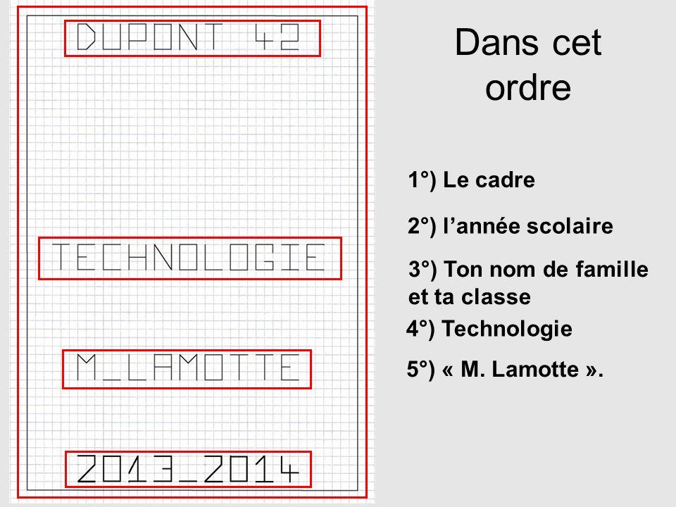 Dans cet ordre 1°) Le cadre 2°) lannée scolaire 3°) Ton nom de famille et ta classe 4°) Technologie 5°) « M. Lamotte ».