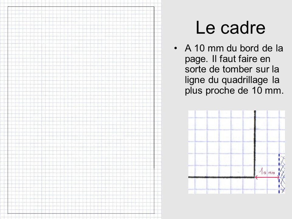 Le cadre A 10 mm du bord de la page. Il faut faire en sorte de tomber sur la ligne du quadrillage la plus proche de 10 mm.