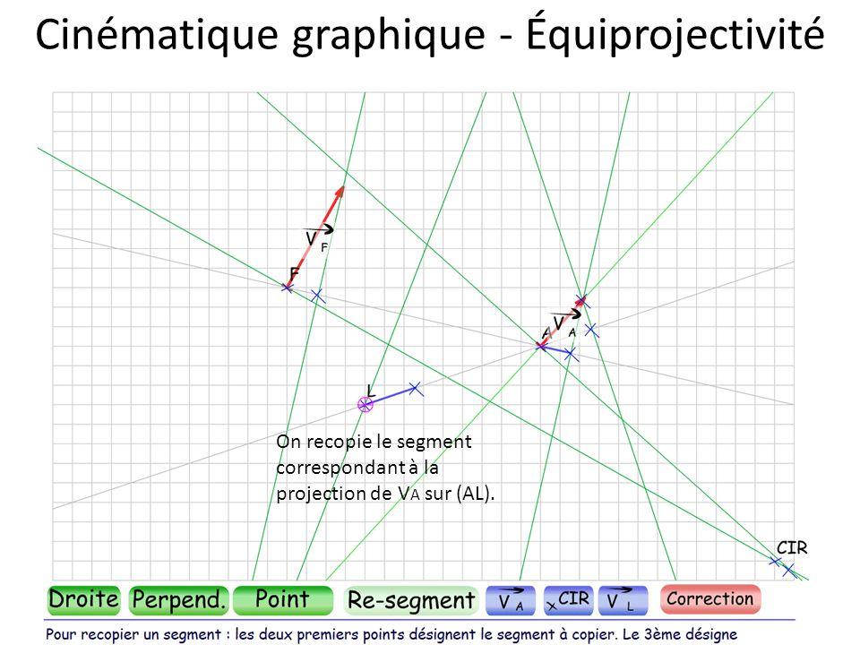 Cinématique graphique - Équiprojectivité On recopie le segment correspondant à la projection de V A sur (AL).