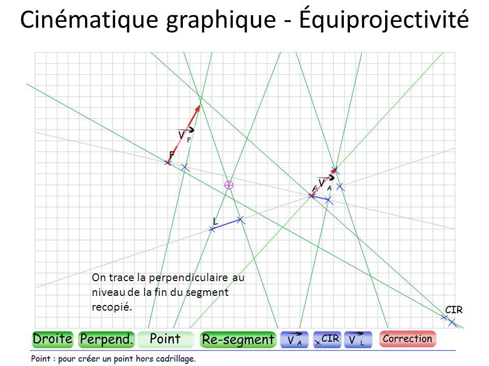 Cinématique graphique - Équiprojectivité On trace la perpendiculaire au niveau de la fin du segment recopié.