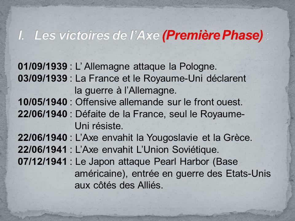 01/09/1939 : L Allemagne attaque la Pologne. 03/09/1939 : La France et le Royaume-Uni déclarent la guerre à lAllemagne. 10/05/1940 : Offensive alleman