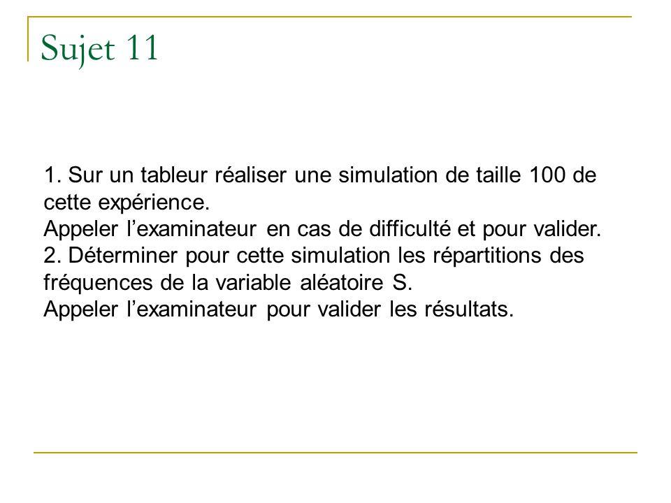 Sujet 11 1. Sur un tableur réaliser une simulation de taille 100 de cette expérience. Appeler lexaminateur en cas de difficulté et pour valider. 2. Dé